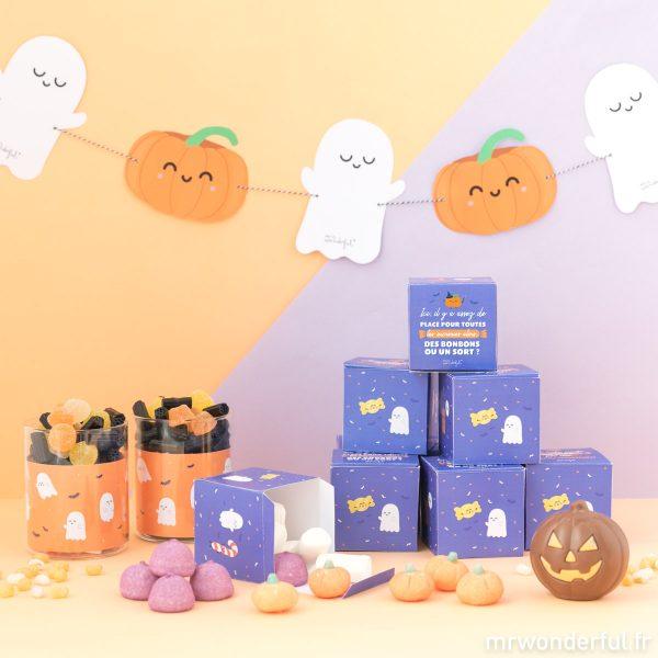 décoration bonbons Halloween fantômes