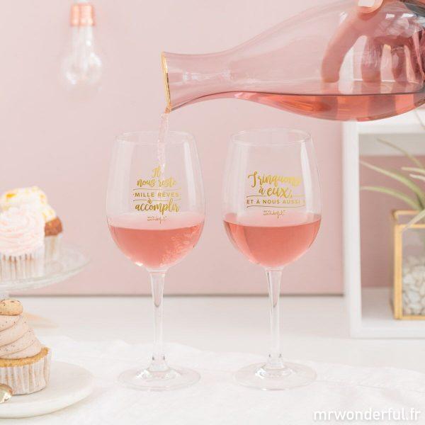 jeu de verres à vins assortis avec message