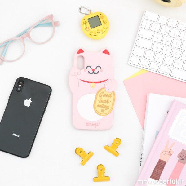 coque iphone x xs Mr. Wonderful cadeau porte bonheur maneki neko