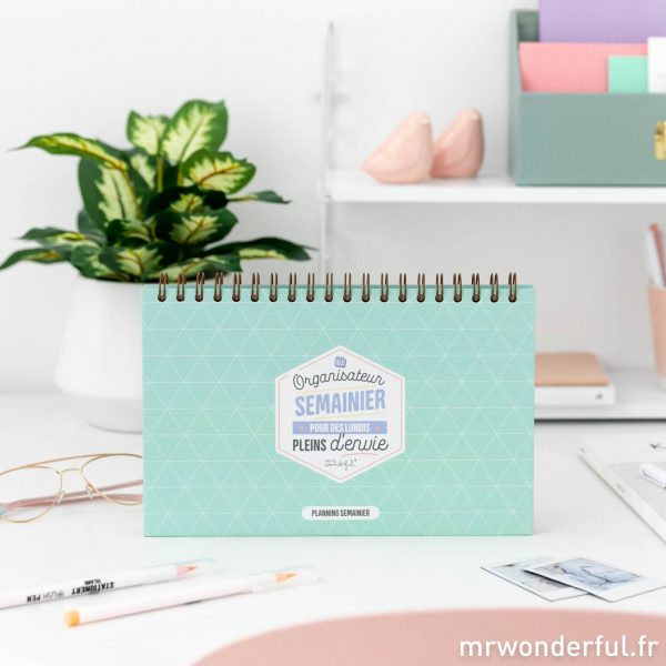 Organisateur semainier Mr. Wonderful emploi du temps to-do list