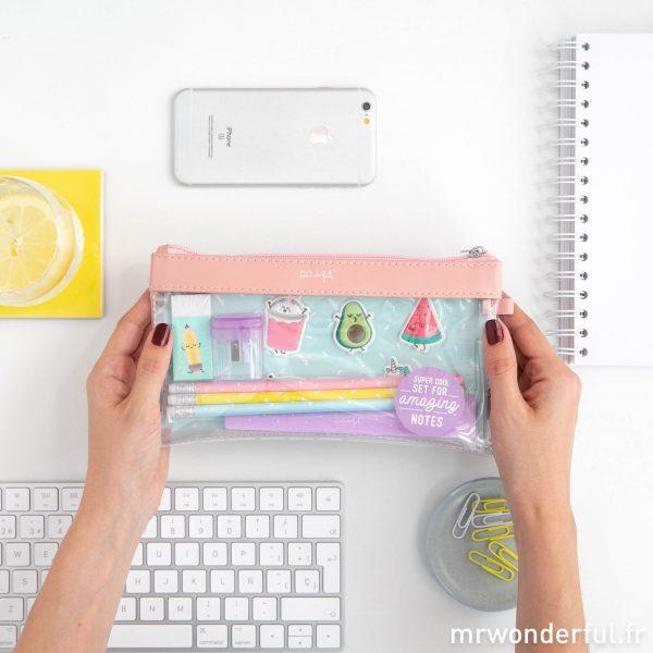kit de fournitures scolaires trousse règle autocollants crayons avec message Mr. Wonderful