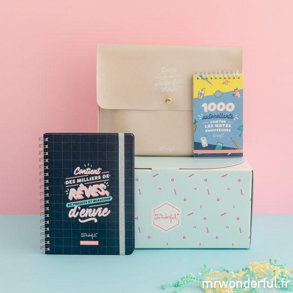 coffret cadeau Mr. Wonderful agenda book sleeve autocollants