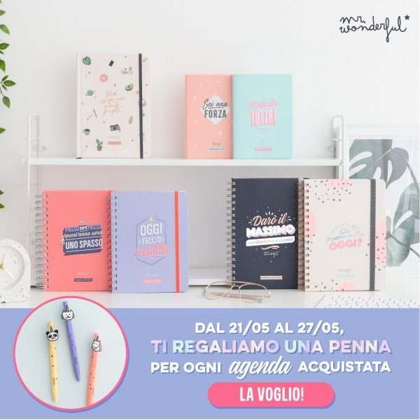 Promozione penna in regalo con agende mr. wonderful 2019-2020