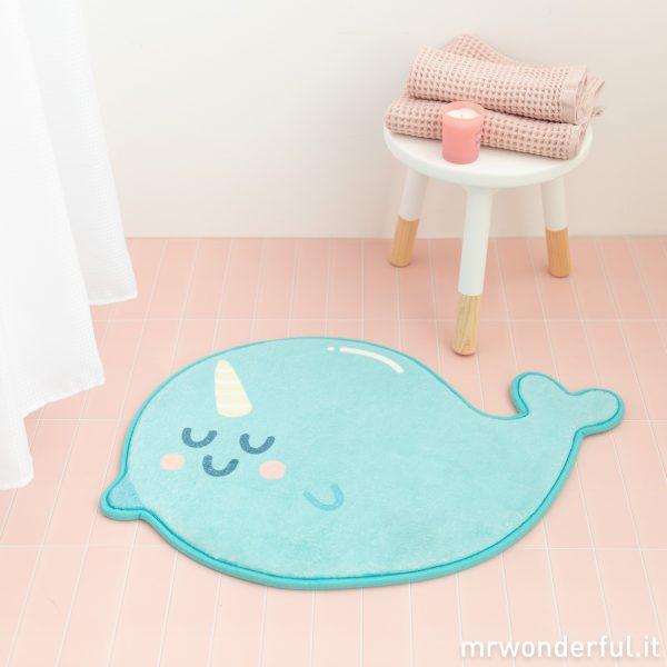 decorazione bagno tappetino doccia tappeto narvalo animale unicorno