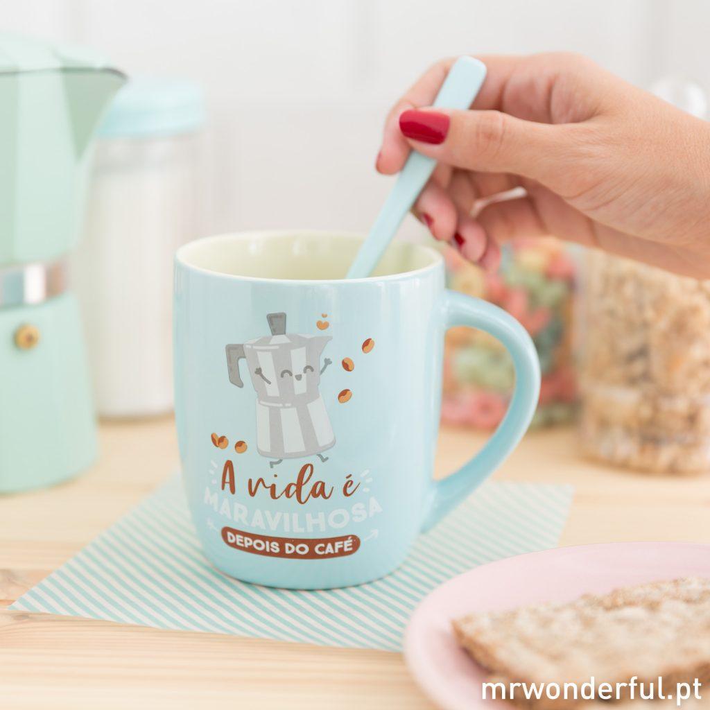 A vida é maravilhosa depois do café - Caneca para o pequeno-almoço Mr. Wonderful