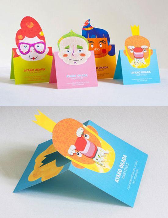 Cartões de visita criativos e ilustrados